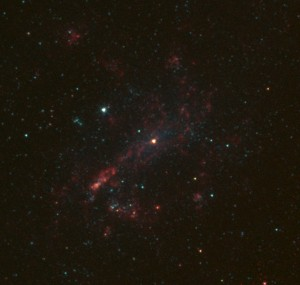 The galaxy NGC 4395 is shown here in infrared light, captured by NASA's Spitzer Space Telescope. Credit: NASA/JPL-Caltech