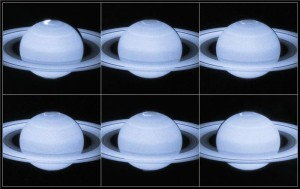 Researchers have captured stunning images of Saturn's auroras as the planet's magnetic field is battered by charged particles from the Sun.