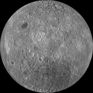 Far side of the moon: this is a composite image of the lunar farside taken by the Lunar Reconnaissance Orbiter in June 2009, note the absence of dark areas. Credit: NASA