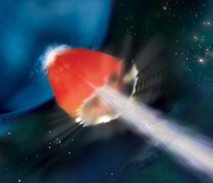 In this artist's rendering of GRB 130925A, a sheath of hot, X-ray-emitting gas (red) surrounds a particle jet (white) blasting through the star's surface at nearly the speed of light. The source may have been a metal-poor blue supergiant, an important proxy for the universe's first stars. Credit: NASA/Swift/A. Simonnet, Sonoma State Univ.