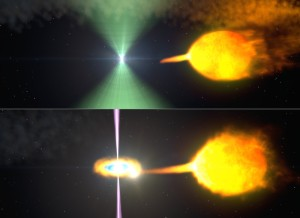 These artist's renderings show one model of pulsar J1023 before (top) and after (bottom) its radio beacon (green) vanished. Normally, the pulsar's wind staves off the companion's gas stream. When the stream surges, an accretion disk forms and gamma-ray particle jets (magenta) obscure the radio beam.