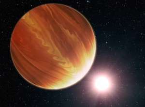 """This is an artistic illustration of the gas giant planet HD 209458b (unofficially named Osiris) located 150 light-years away in the constellation Pegasus. This is a """"hot Jupiter"""" class planet. Estimated to be 220 times the mass of Earth. The planet's atmosphere is a seething 2,150 degrees Fahrenheit. It orbits very closely to its bright sunlike star, and the orbit is tilted edge-on to Earth. This makes the planet an ideal candidate for the Hubble Space Telescope to be used to make precise measurements of the chemical composition of the giant's atmosphere as starlight filters though it. To the surprise of astronomers, they have found much less water vapor in the atmosphere than standard planet-formation models predict. Credit: NASA, ESA, and G. Bacon (STScI)"""