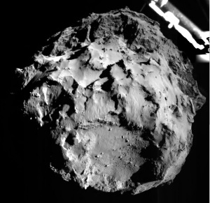 This image of comet 67P/Churyumov–Gerasimenko was taken by the Philae lander of the European Space Agency's Rosetta mission during Philae's descent toward the comet on Nov. 12, 2014. Philae's ROLIS camera took the image from a distance of approximately two miles (three kilometers) from the surface. Image Credit: ESA/Rosetta/Philae/DLR